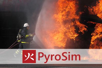 PyroSim symulator rozchodzenia się dymu i toksyn w płonącym budynku.